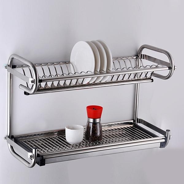 加厚不銹鋼晾碗架 雙層掛牆廚房置物架收納架瀝水架碗碟架刀架【限時八折】