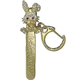 【波克貓哈日網】日本復古鑰匙圈 ◇可作裝飾夾◇小兔子《金色》可夾在包包、牛仔褲口袋作裝飾