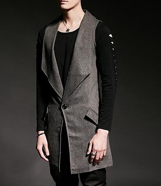 找到自己 韓國潮流 西裝 馬甲背心 時尚 街頭潮男 夜店 DJ 發型師 必備 中長款馬甲 外套