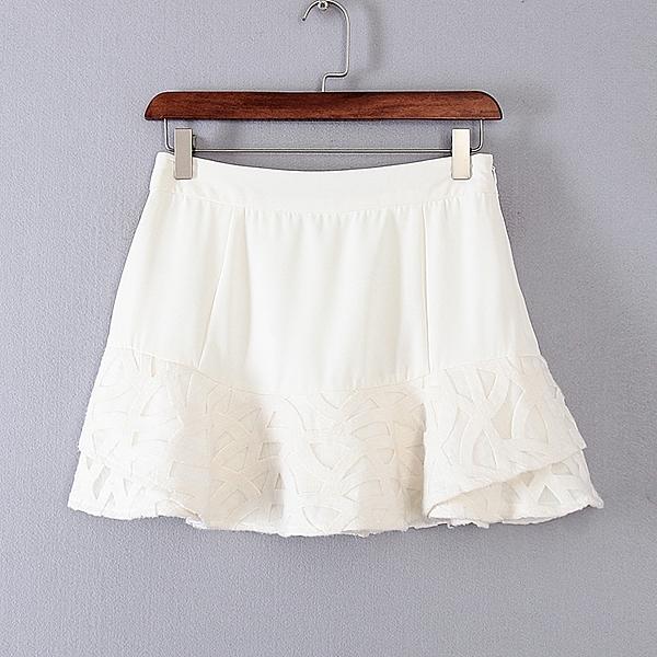 [超豐國際]面春夏裝女裝白色休閑淑女百搭短裙 31921(1入)