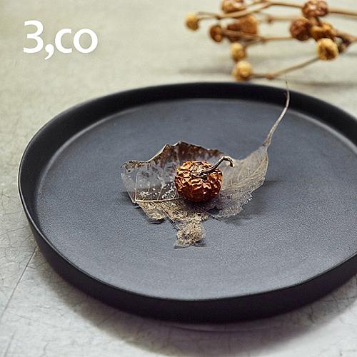 【3,co】水波系列圓形托盤(2號) - 黑