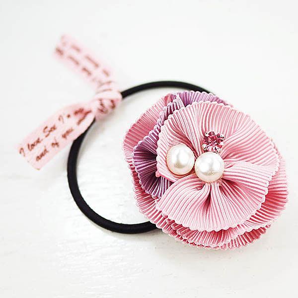 【粉紅堂髮飾】甜美珍珠緞帶花朵髮束 *粉紅色 *