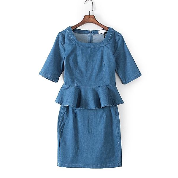 [超豐國際]愛春秋裝女裝藍色牛仔套裝百搭T恤 41086(1入)