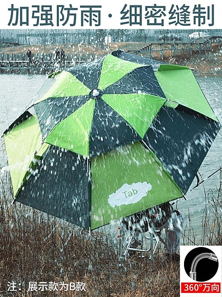 釣魚傘萬向防雨2.0米加厚摺疊遮陽防曬釣傘