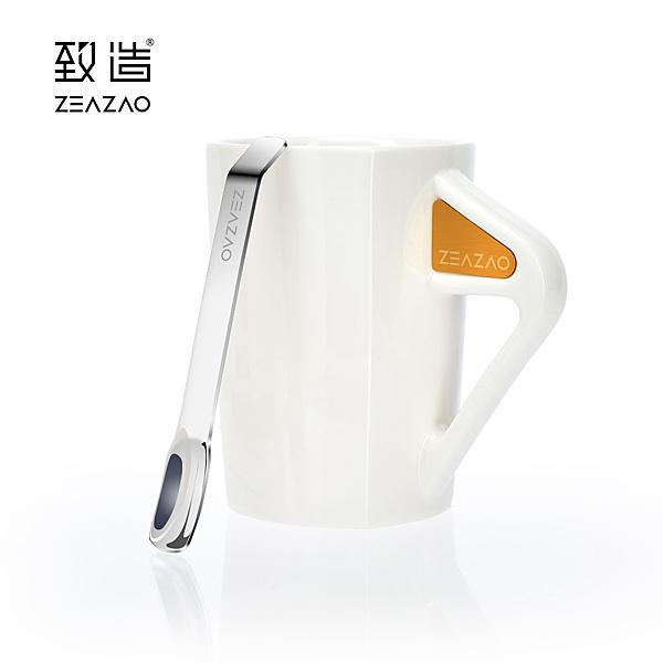 致造ZEAZAO致在杯 強磁吸附帶勺馬克杯 陶瓷馬克杯 簡約陶瓷杯 辦公杯 咖啡杯 帶勺調羹 禮物