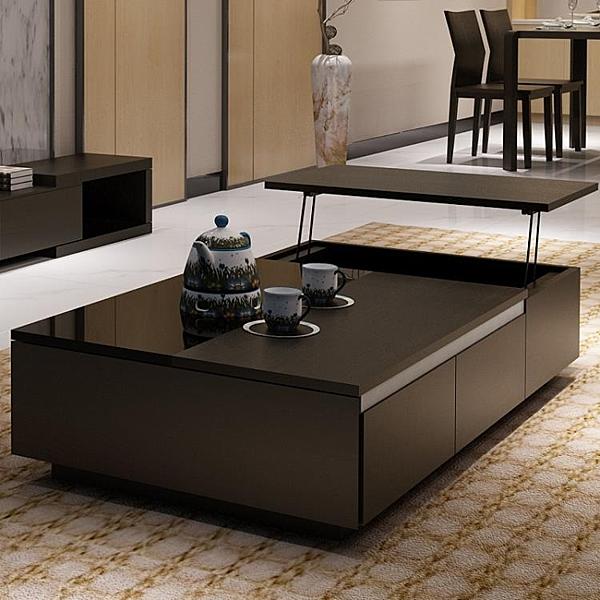 升降茶几 牧豪茶幾現代簡約大小戶型鋼化玻璃黑色創意四個抽屜升降茶幾茶桌 MKS克萊爾
