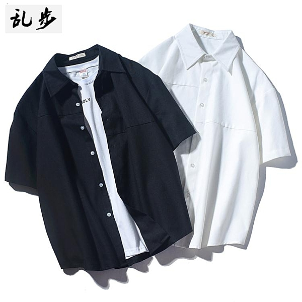 降價兩天 夏季日繫簡約白色短袖襯衣 男潮流休閒寬鬆五分袖襯衫潮