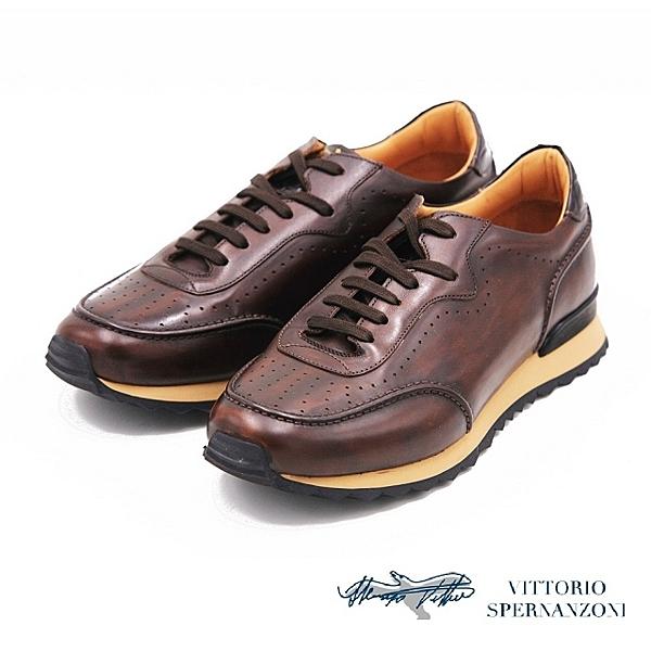 VITTORIO SPERNANZONI 頂級義大利手工真皮休閒男鞋-深咖(另有棕)
