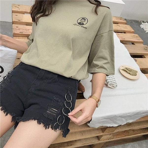 FINDSENSE 正韓女裝 個性 圓環 黑色 G6 淺藍 中高腰 女性 短褲