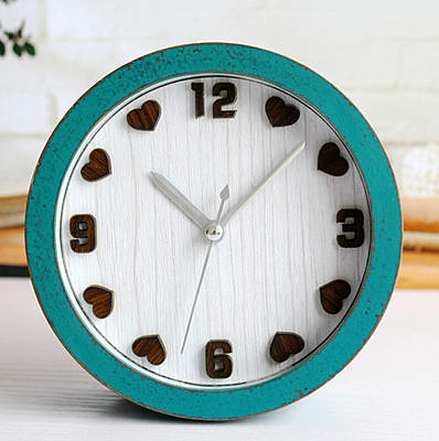 桌面時鐘錶(綠木頭色.桃木心)