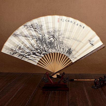絲藝堂9寸花斑竹手繪山水素面白紙扇