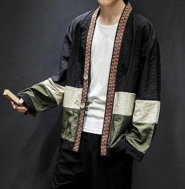 FINDSENSE H1 2018 夏季 新款 男 日本 復古風拼接色 開衫 加