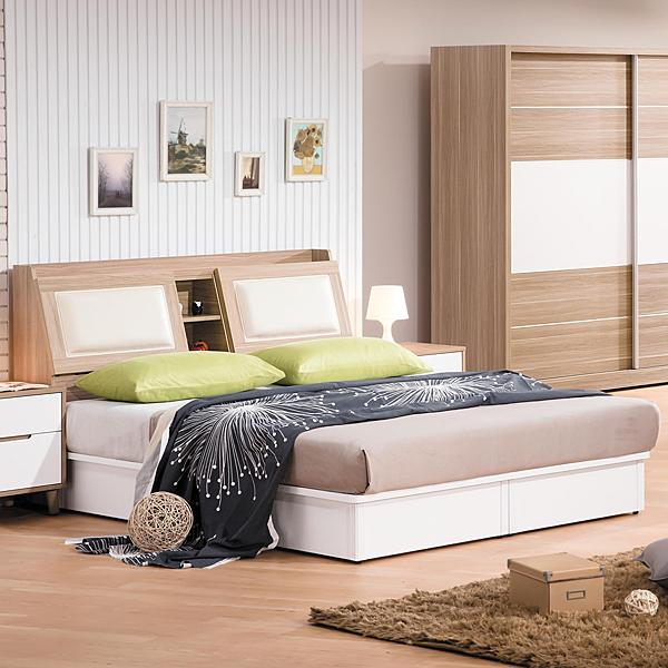 床架【時尚屋】[G17]肯詩特烤白雙色5尺床箱型雙人床G17-A017-1+A017-2不含床頭櫃-床墊/免運費/免組裝