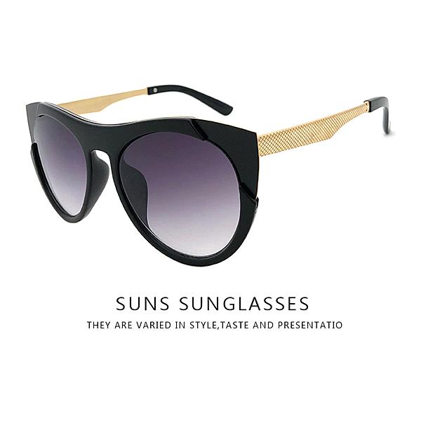 歐美墨鏡 貓眼設計黑框金屬太陽眼鏡 時尚復古簡約抗UV400太陽眼鏡