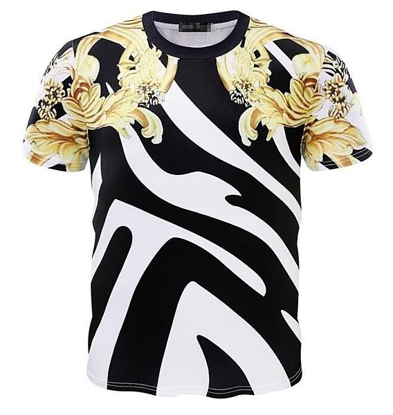 FINDSENSE Z1 日系 流行 男 時尚 3D 黑白撞色 大黃花圖案 短袖