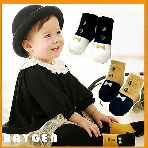秋冬季時尚 領結款兒童短襪 嬰兒寶寶襪子短襪 膠底防滑 兒童襪