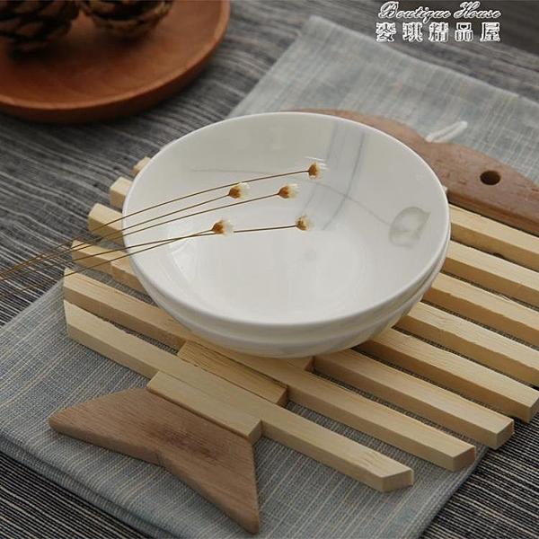 竹木本記隔熱墊4個套裝竹制餐桌碗墊防燙創意廚房竹墊 麥琪精品屋