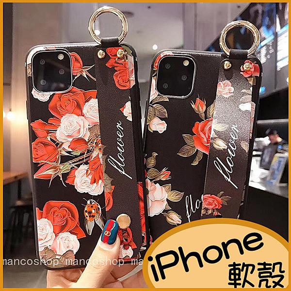 (腕帶殼)復古花朵殼iPhone11pro max手機殼 XR保護殼XS max iPhone8 plus保護套i6splus防摔殼 i7 Plus防丟殼
