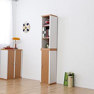 一加一組合《Accessco》日系雙色六格附門厚板收納書櫃﹝原木白﹞