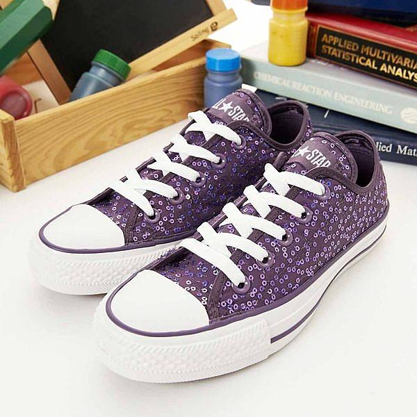 CONVERSE短筒帆布鞋--閃閃惹人愛--紫--13W170146--女--UK 4(23)號--NG商品