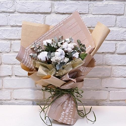 棉花 乾燥花束--情人花束.生日花束.聖誕花束