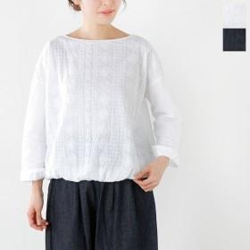 soi-e ソア 総柄刺繍×無地コットンプルオーバーシャツ 810631 レディース