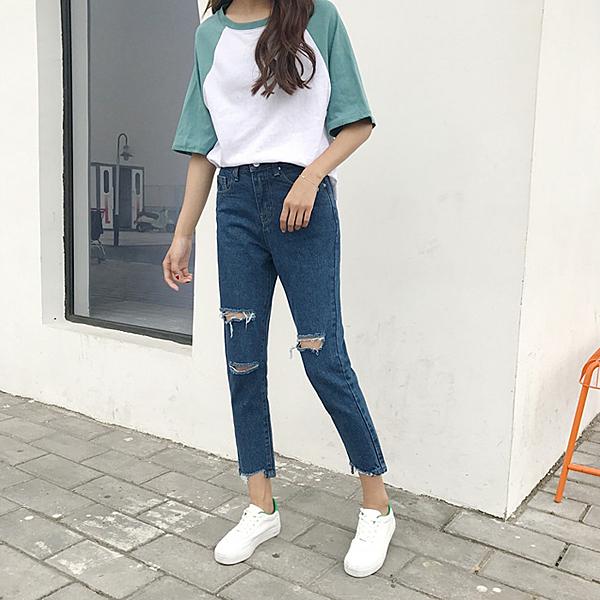 [超豐國際]夏裝學生褲子寬松直筒褲高腰顯瘦九分褲破洞牛仔褲女1入