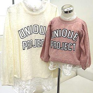 【韓國直送】字母貼布繡圖柔軟蕾絲上衣(小孩)