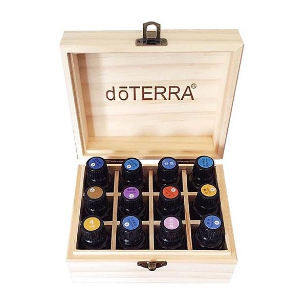 多特瑞精油盒 新西蘭鬆木12格精油收納木盒 收納盒子精油展示盒 母親節禮物