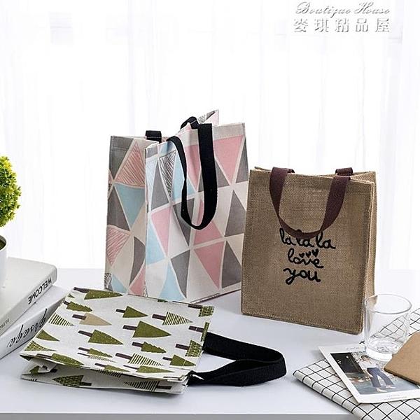 手提袋帆布袋女便攜購物袋學生補習書袋飯盒袋折疊防水環保便當包 【全館免運】