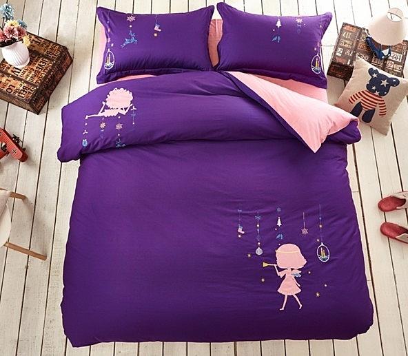 純棉床上四件套 春夏高檔兒童卡通 刺繡床品 男女童