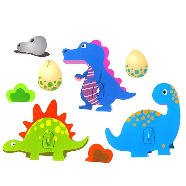 黏樂趣 NELO 卡通造形重複貼掛勾組(恐龍)