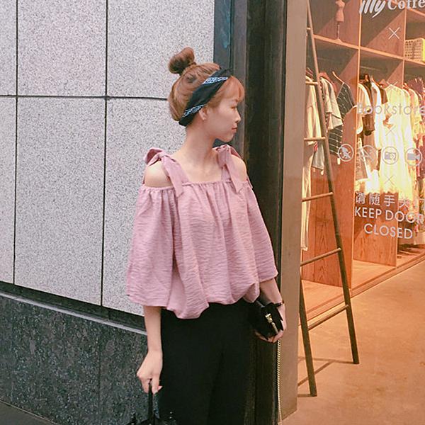[超豐國際]夏季女裝露肩一字領系帶短袖襯衫寬松喇叭袖上衣學生1入