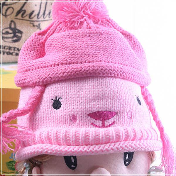 超卡哇依針織粉色毛線帽/兒童帽 魔法Baby