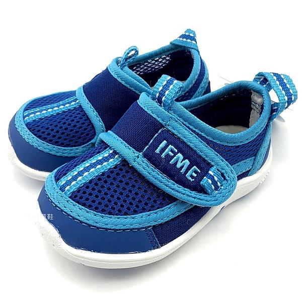 《7+1童鞋》日本 IFME 透氣 魔鬼氈 排水孔 寶寶機能學步鞋 水涼鞋 C471 藍色