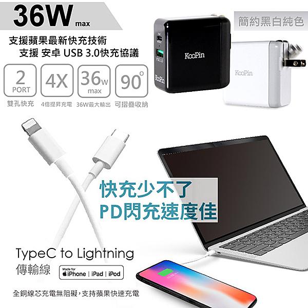 iPhone PD 閃電充電器(36W)+Type-C to Lightning 蘋果認證PD快充線