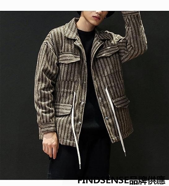FINDSENSE品牌 秋冬款 新款 日本 男 文藝 條紋 高品質 翻領 寬鬆大