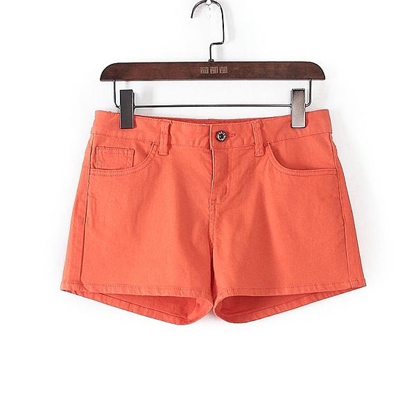 [超豐國際]U春夏裝女裝橙色純色糖果色休閑短褲 41051(1入)