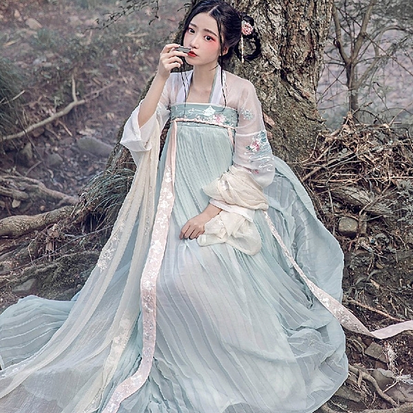漢服  漢服改良齊胸襦裙自在飛花步蟾宮唐制清新日常古裝仙女裝夏