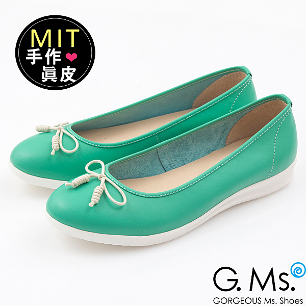 G.Ms.*MIT系列-羊皮線圈綁繩蝴蝶結包鞋-馬卡綠