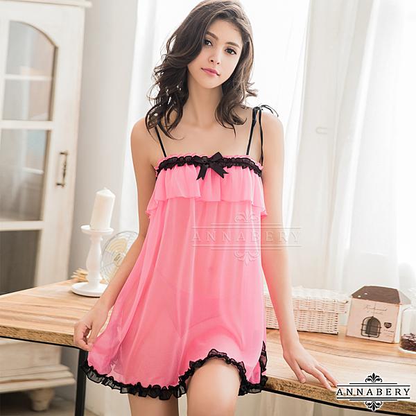【得易屋量販】★大尺碼Annabery粉紅雪紡平口細肩帶性感睡衣二件組★深粉紅┌NY14020033
