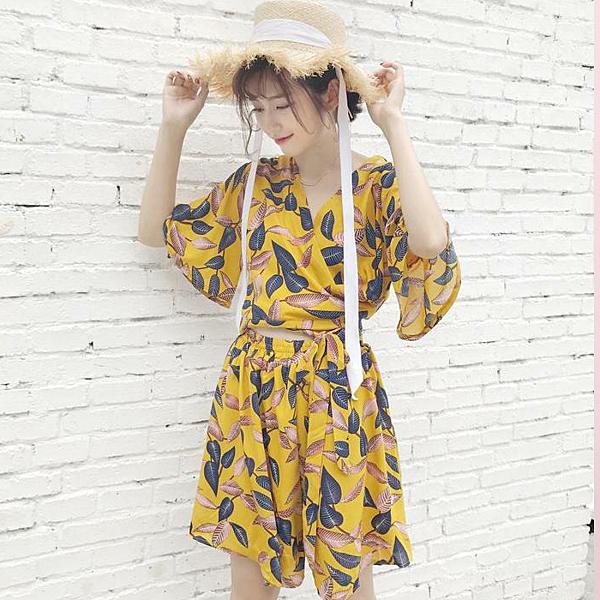 [超豐國際]印花套裝夏女度假時尚兩件套洋氣上衣高腰短褲闊腿褲1入