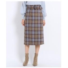 AG by aquagirl(エージー バイ アクアガール)【Lサイズあり】ツィードチェック柄ベルト付タイトスカート