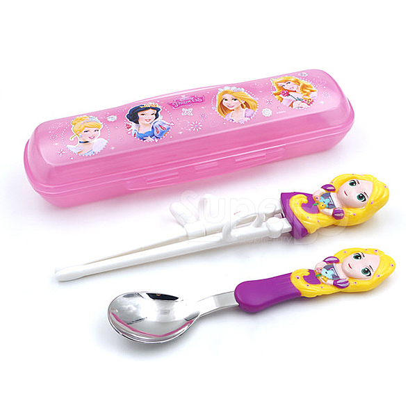 迪士尼 Disney 3D學習筷湯匙組 長髮公主(附收納盒)