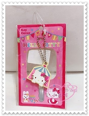 ♥小花花日本精品♥Hello Kitty 鑰匙套鑰匙圈鑰匙收納套大臉趴姿樂園愛心蝴蝶結水鑽粉色 11010807