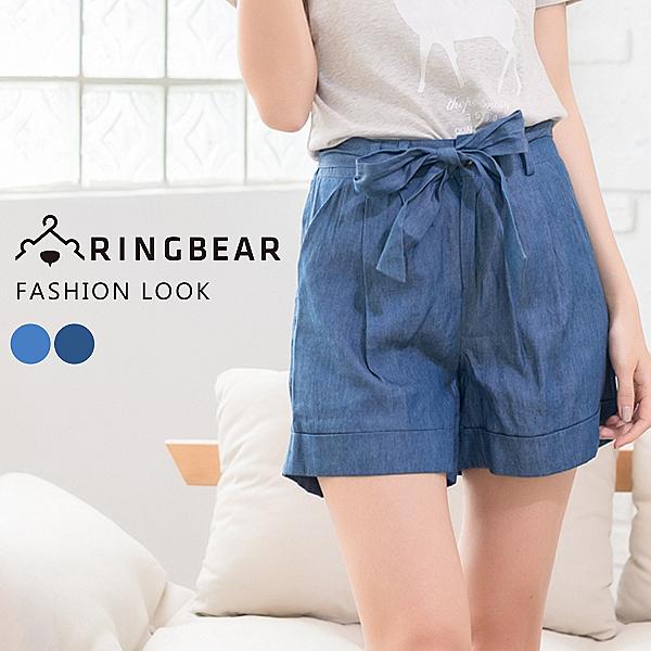 中大尺碼--簡約風采壓折褲管反摺高腰綁帶丹寧短褲(深藍.淺藍XL-5L)-R166眼圈熊中大尺碼