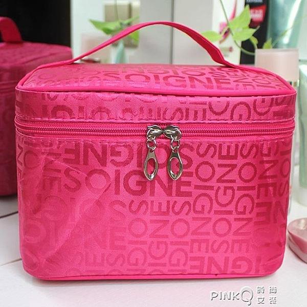隨身旅行網紅化妝包女收納洗漱包化妝箱大容量便攜折疊小號收納包  (pink Q 時尚女裝)