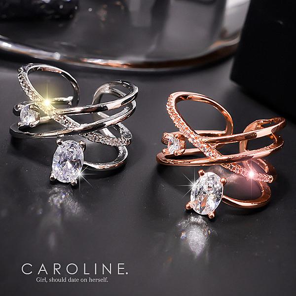 《Caroline》★韓國熱賣造型時尚  水鑽晶透閃亮秀雅戒指71222
