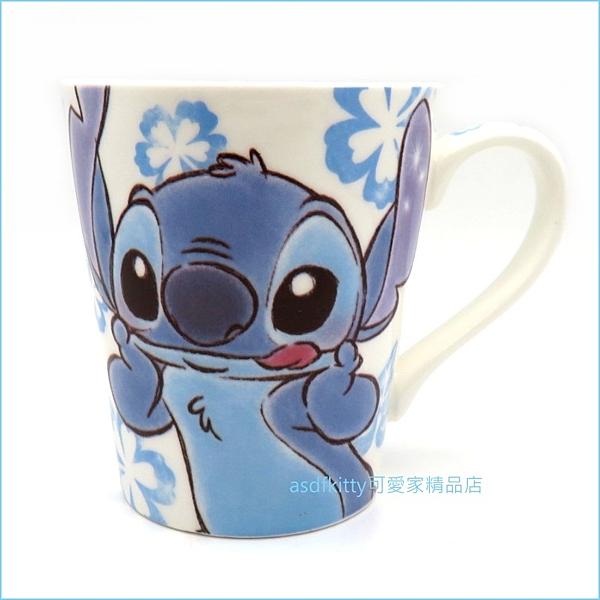 asdfkitty可愛家☆星際寶貝 史迪奇 藍色扶桑花陶瓷馬克杯-日本正版商品