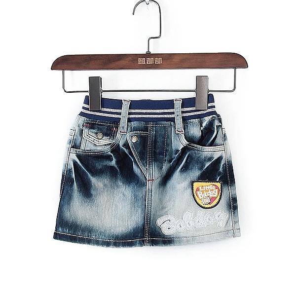 [超豐國際]巴春夏裝女童藍色牛仔彈力腰身半身裙 43725(1入)